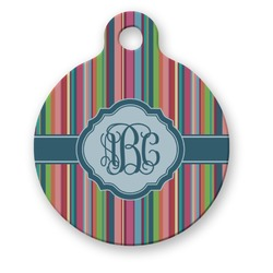 Retro Vertical Stripes2 Round Pet Tag (Personalized)