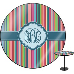 Retro Vertical Stripes2 Round Table Top (Personalized)