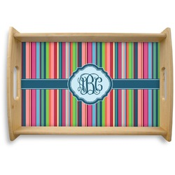 Retro Vertical Stripes2 Natural Wooden Tray (Personalized)