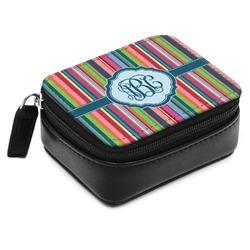 Retro Vertical Stripes2 Small Leatherette Travel Pill Case (Personalized)
