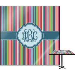 Retro Vertical Stripes2 Square Table Top (Personalized)
