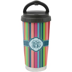 Retro Vertical Stripes2 Stainless Steel Travel Mug (Personalized)