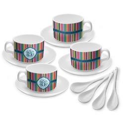 Retro Vertical Stripes2 Tea Cup - Set of 4 (Personalized)
