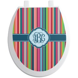 Retro Vertical Stripes2 Toilet Seat Decal (Personalized)
