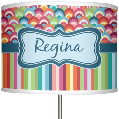 """Retro Scales & Stripes 13"""" Drum Lamp Shade (Personalized)"""