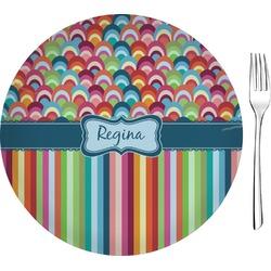 "Retro Scales & Stripes Glass Appetizer / Dessert Plates 8"" - Single or Set (Personalized)"