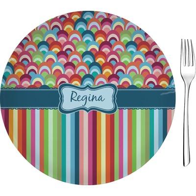 "Retro Scales & Stripes 8"" Glass Appetizer / Dessert Plates - Single or Set (Personalized)"