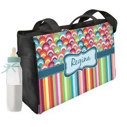 Retro Scales & Stripes Diaper Bag w/ Name or Text