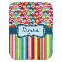 Retro Scales & Stripes Baby Swaddling Blanket (Personalized)