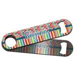 Retro Scales & Stripes Bar Bottle Opener w/ Name or Text
