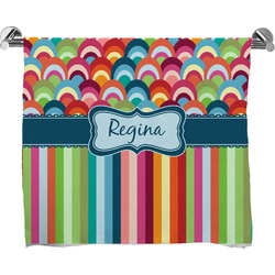 Retro Scales & Stripes Full Print Bath Towel (Personalized)