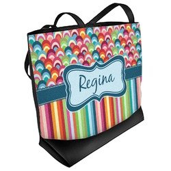 Retro Scales & Stripes Beach Tote Bag (Personalized)