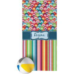 Retro Scales & Stripes Beach Towel (Personalized)