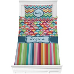Retro Scales & Stripes Comforter Set - Twin (Personalized)