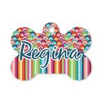 Retro Scales & Stripes Bone Shaped Dog ID Tag (Personalized)