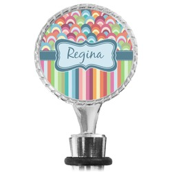 Retro Scales & Stripes Wine Bottle Stopper (Personalized)