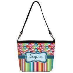 Retro Scales & Stripes Bucket Bag w/ Genuine Leather Trim (Personalized)