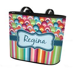 Retro Scales & Stripes Bucket Tote w/ Genuine Leather Trim (Personalized)