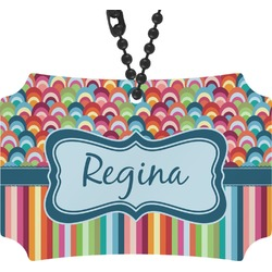 Retro Scales & Stripes Rear View Mirror Ornament (Personalized)
