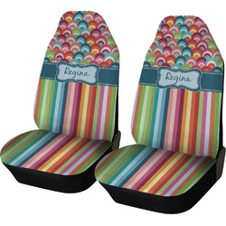 Retro Scales & Stripes Car Seat Covers (Set of Two) (Personalized)