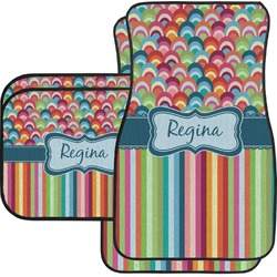 Retro Scales & Stripes Car Floor Mats Set - 2 Front & 2 Back (Personalized)