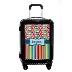 Retro Scales & Stripes Carry On Hard Shell Suitcase (Personalized)
