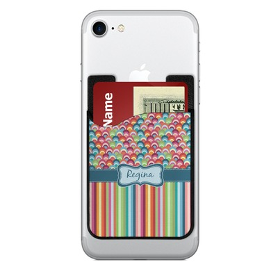 Retro Scales & Stripes 2-in-1 Cell Phone Credit Card Holder & Screen Cleaner (Personalized)