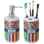 Retro Scales & Stripes Bathroom Accessories Set (Ceramic) (Personalized)