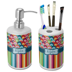 Retro Scales & Stripes Ceramic Bathroom Accessories Set (Personalized)