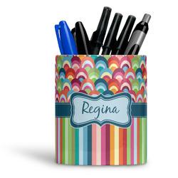 Retro Scales & Stripes Ceramic Pen Holder