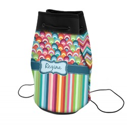 Retro Scales & Stripes Neoprene Drawstring Backpack (Personalized)