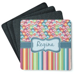 Retro Scales & Stripes 4 Square Coasters - Rubber Backed (Personalized)