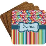 Retro Scales & Stripes Cork Coaster - Set of 4 w/ Name or Text