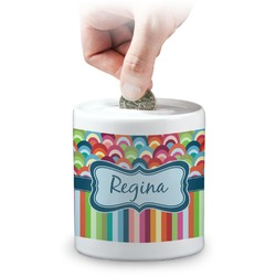 Retro Scales & Stripes Coin Bank (Personalized)