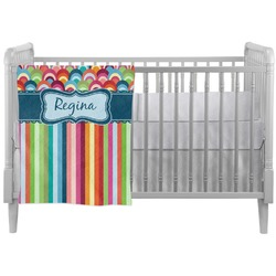 Retro Scales & Stripes Crib Comforter / Quilt (Personalized)