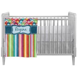 Retro Scales & Stripes Crib Comforter / Quilt (Personalized)