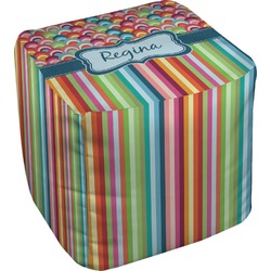 Retro Scales & Stripes Cube Pouf Ottoman (Personalized)