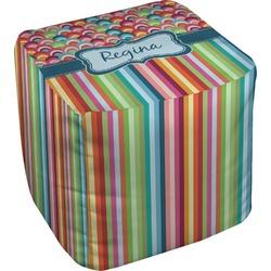 Retro Scales & Stripes Cube Pouf Ottoman (Personalized)