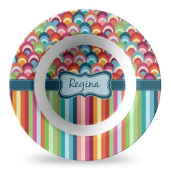 Retro Scales & Stripes Plastic Bowl - Microwave Safe - Composite Polymer (Personalized)