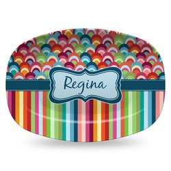 Retro Scales & Stripes Plastic Platter - Microwave & Oven Safe Composite Polymer (Personalized)