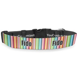 """Retro Scales & Stripes Deluxe Dog Collar - Double Extra Large (20.5"""" to 35"""") (Personalized)"""