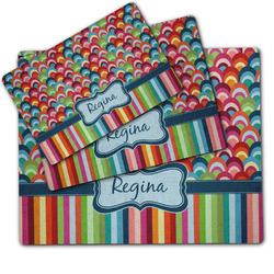 Retro Scales & Stripes Dog Food Mat w/ Name or Text
