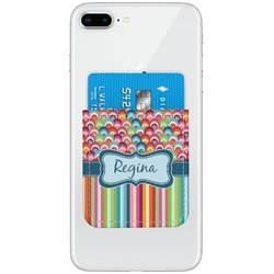 Retro Scales & Stripes Genuine Leather Adhesive Phone Wallet (Personalized)