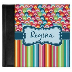 Retro Scales & Stripes Genuine Leather Baby Memory Book (Personalized)