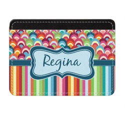 Retro Scales & Stripes Genuine Leather Front Pocket Wallet (Personalized)