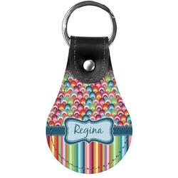 Retro Scales & Stripes Genuine Leather  Keychain (Personalized)