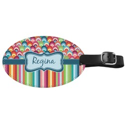 Retro Scales & Stripes Genuine Leather Oval Luggage Tag (Personalized)