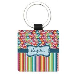 Retro Scales & Stripes Genuine Leather Rectangular Keychain (Personalized)