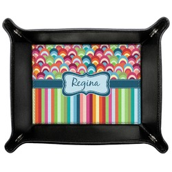 Retro Scales & Stripes Genuine Leather Valet Tray (Personalized)