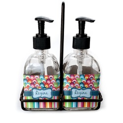 Retro Scales & Stripes Soap & Lotion Dispenser Set (Glass) (Personalized)